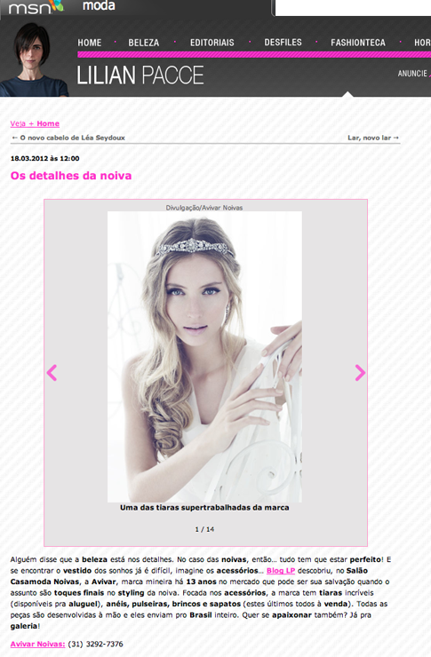 Fashion bride: Avivar no site da Lilian Pacce.