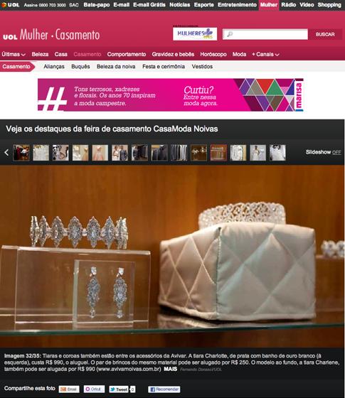 Notícias do Salão CasaModa Noivas . Site UOL, Noivasdepasserelle e blog Estilo RG