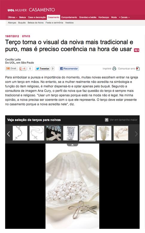 Terços da coleção Avivar no site UOL Casamento