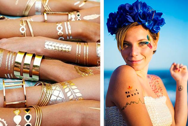 A última moda é investira nas tatuagens temporárias, sejam elas metálicas ou criadas especialmente para a ocasião